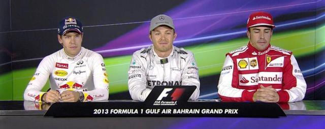 Presskonferens efter kvalet till Bahrains GP: Vettel, Rosberg och Alonso samt Renault-, Mercedes- och Ferrari-motorer.